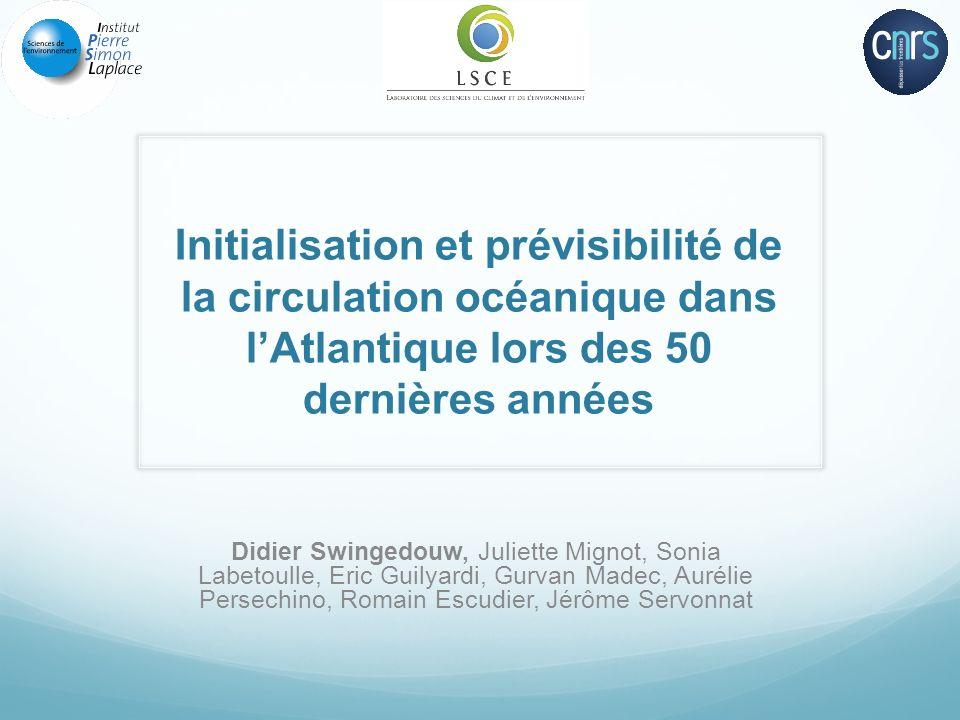 Initialisation et prévisibilité de la circulation océanique dans l'Atlantique lors des 50 dernières années