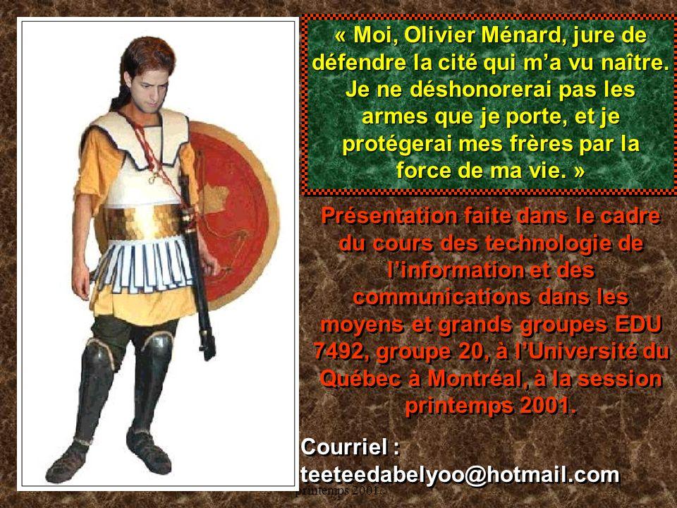Olivier Ménard, EDU 7492, printemps 2001.