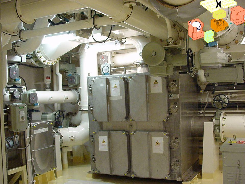 x Filtres à iode. En cas de contamination, l'air rejeté à l'extérieur est recyclé sur des filtres à iode avant d'être rejeté dans l'environnement.