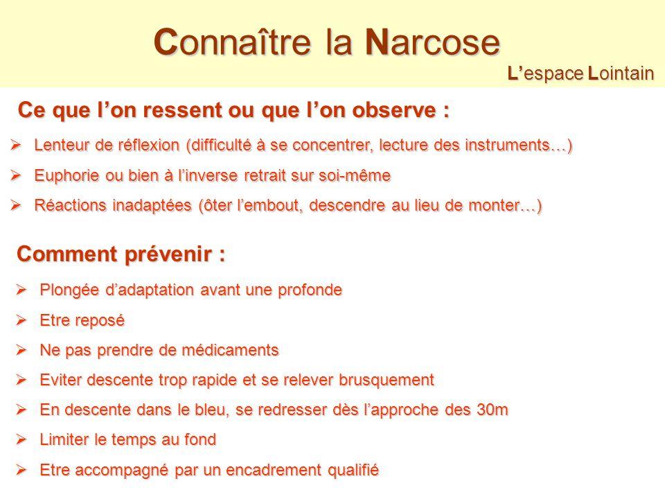 Connaître la Narcose Ce que l'on ressent ou que l'on observe :