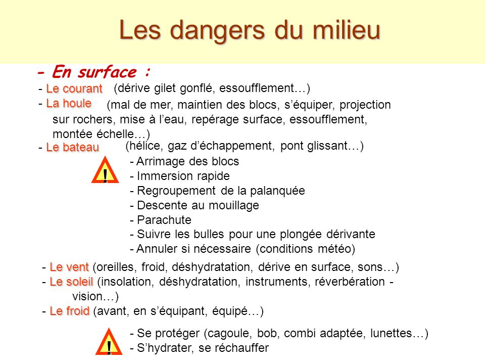 Les dangers du milieu ! ! - En surface : - Le courant - La houle