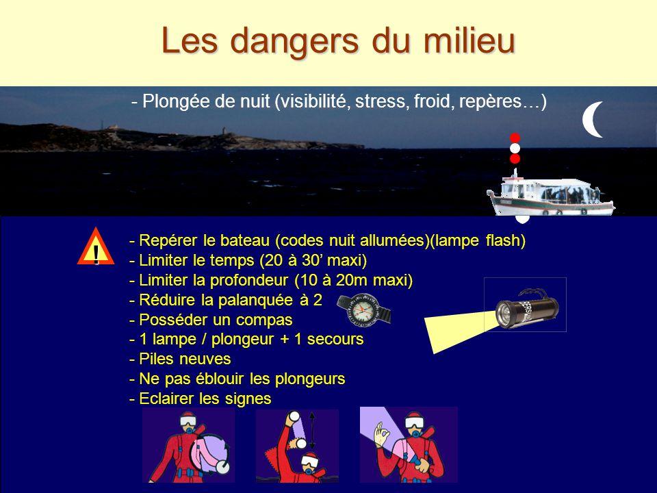 Les dangers du milieu - Plongée de nuit (visibilité, stress, froid, repères…) - Repérer le bateau (codes nuit allumées)(lampe flash)