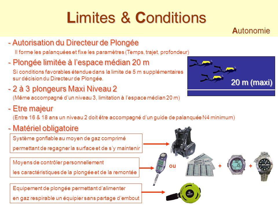 Limites & Conditions Autonomie - Autorisation du Directeur de Plongée