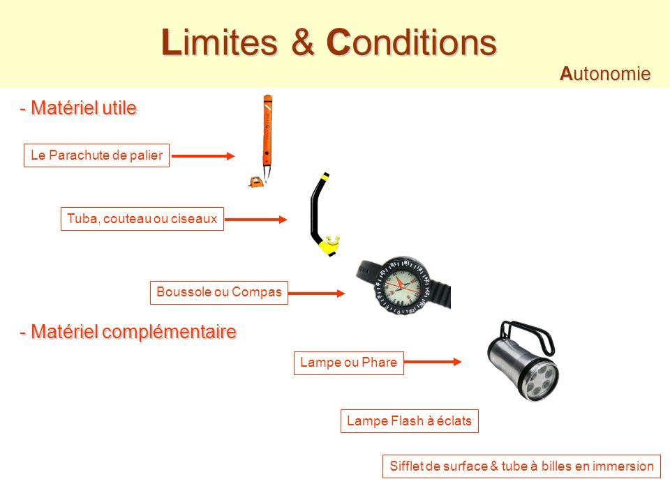 Limites & Conditions Autonomie - Matériel utile