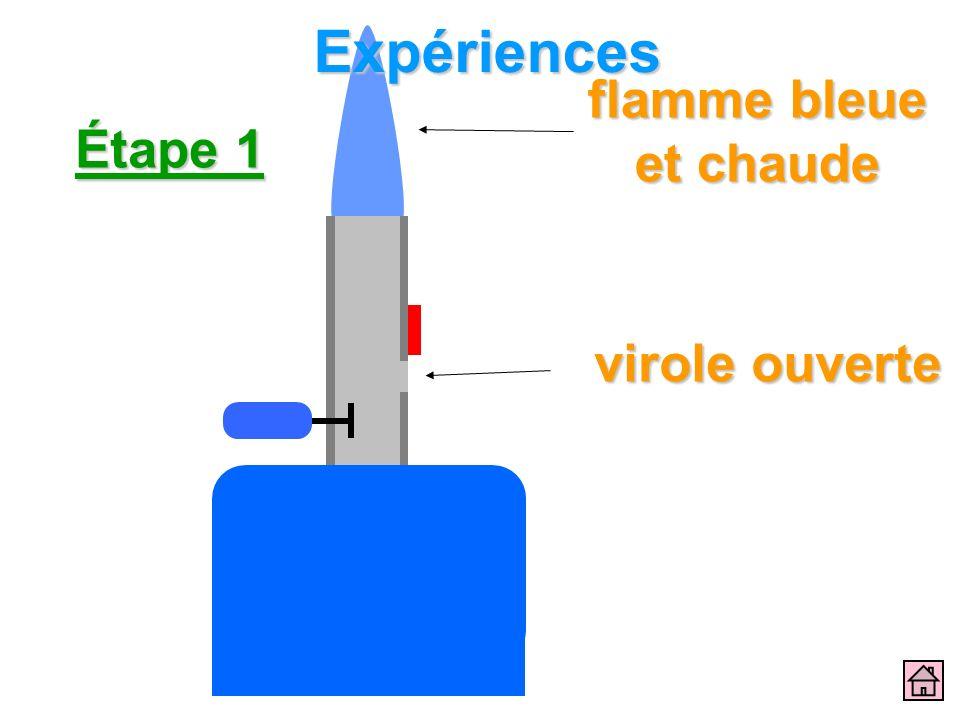 Expériences flamme bleue et chaude Étape 1 virole ouverte