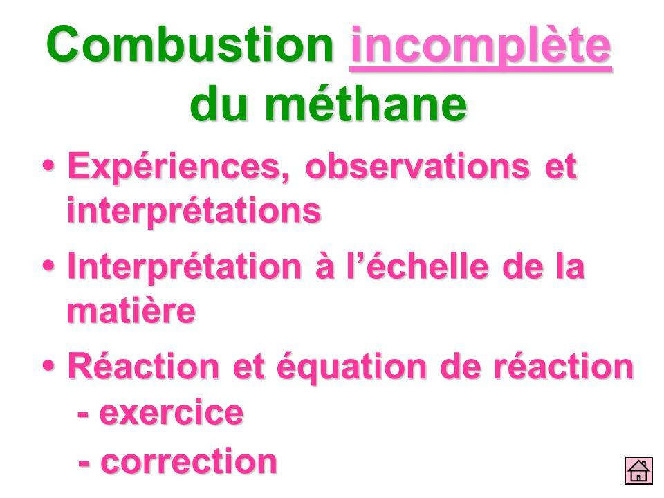 Combustion incomplète du méthane