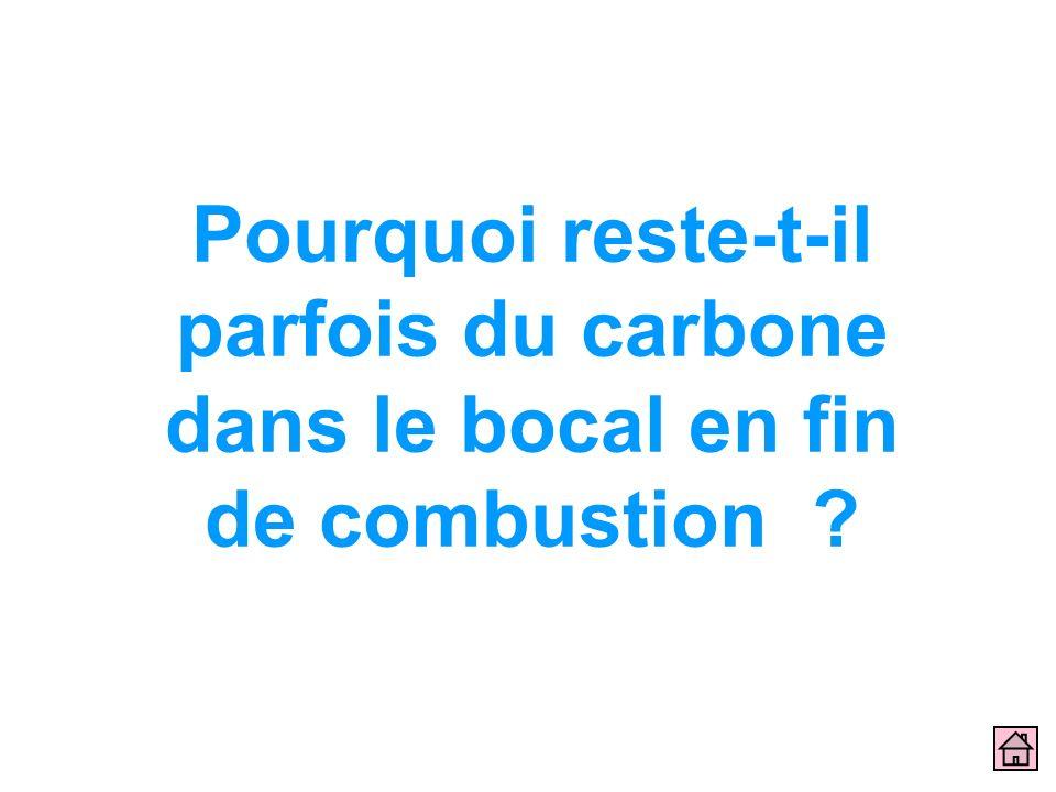 Pourquoi reste-t-il parfois du carbone dans le bocal en fin de combustion