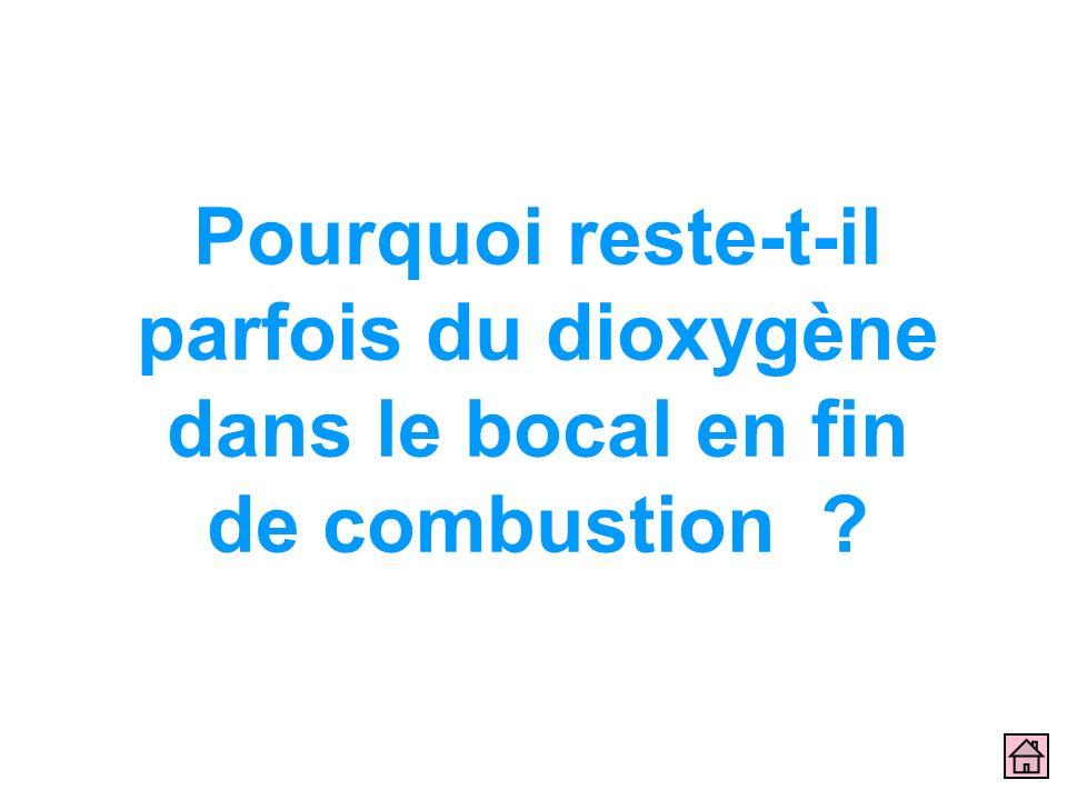 Pourquoi reste-t-il parfois du dioxygène dans le bocal en fin de combustion