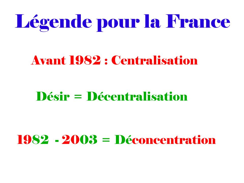 Légende pour la France Avant 1982 : Centralisation