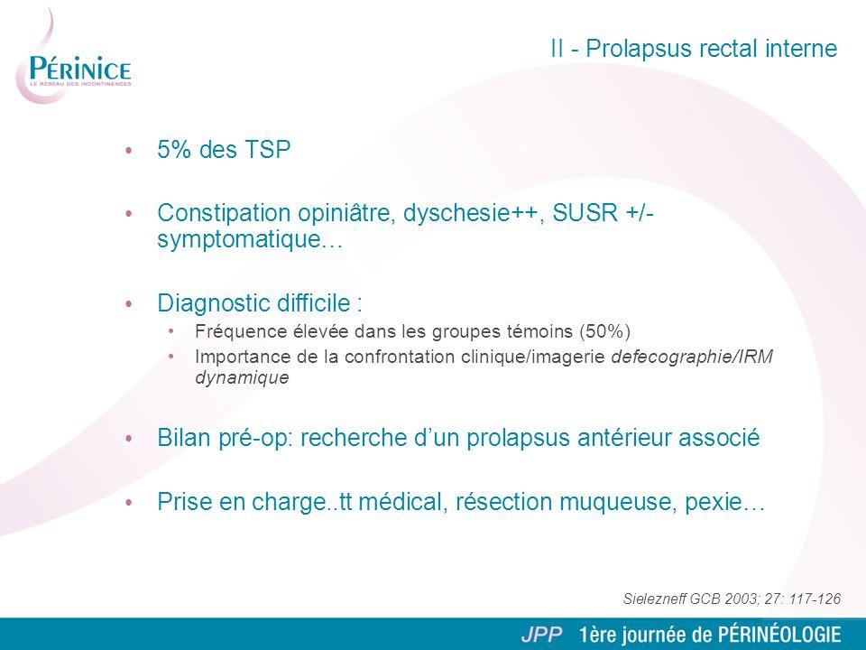 II - Prolapsus rectal interne