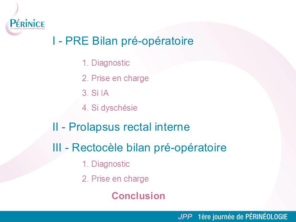 I - PRE Bilan pré-opératoire 1. Diagnostic