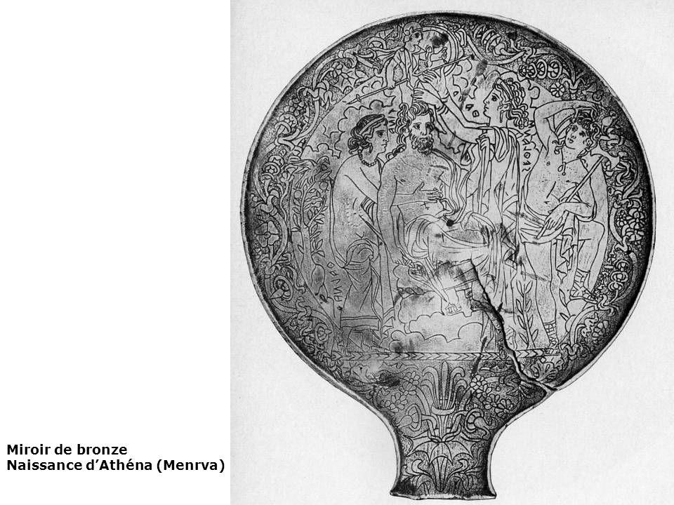 Miroir de bronze Naissance d'Athéna (Menrva)