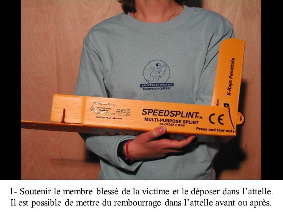 1- Soutenir le membre blessé de la victime et le déposer dans l'attelle.
