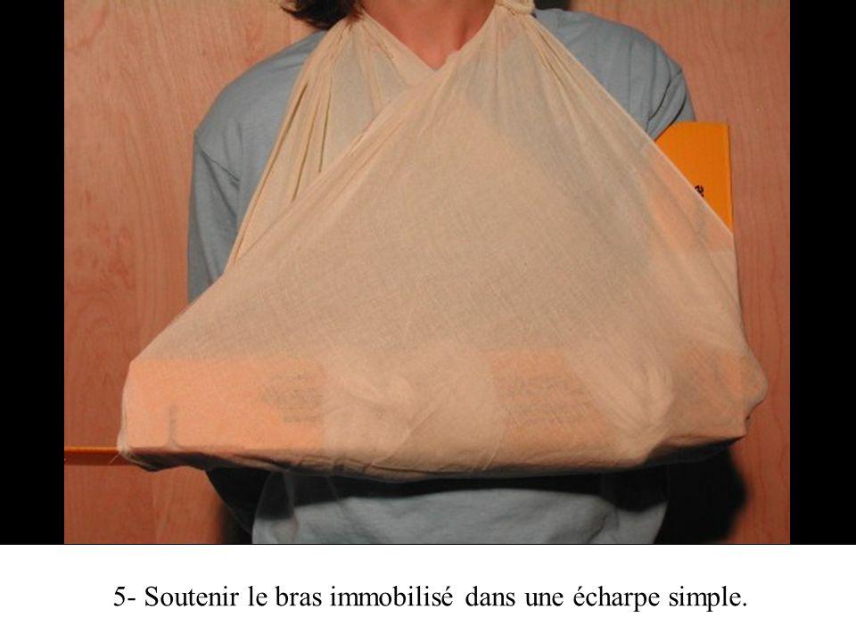 5- Soutenir le bras immobilisé dans une écharpe simple.
