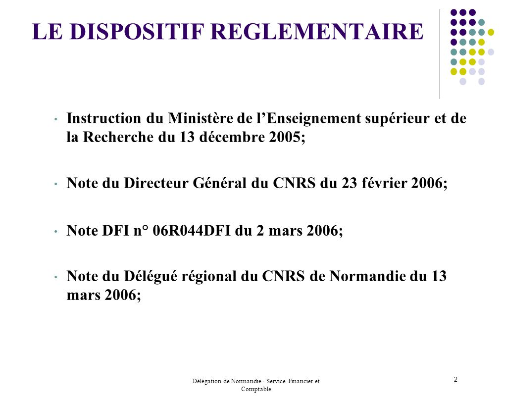 LE DISPOSITIF REGLEMENTAIRE