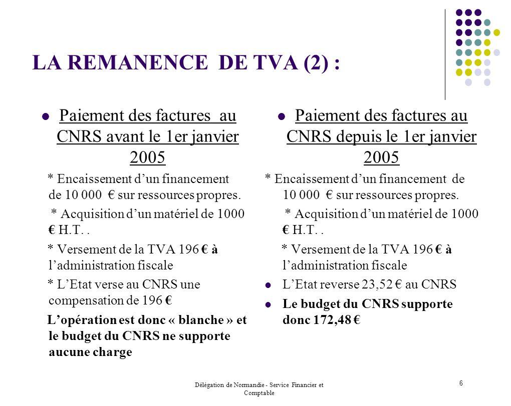LA REMANENCE DE TVA (2) : Paiement des factures au CNRS avant le 1er janvier 2005.