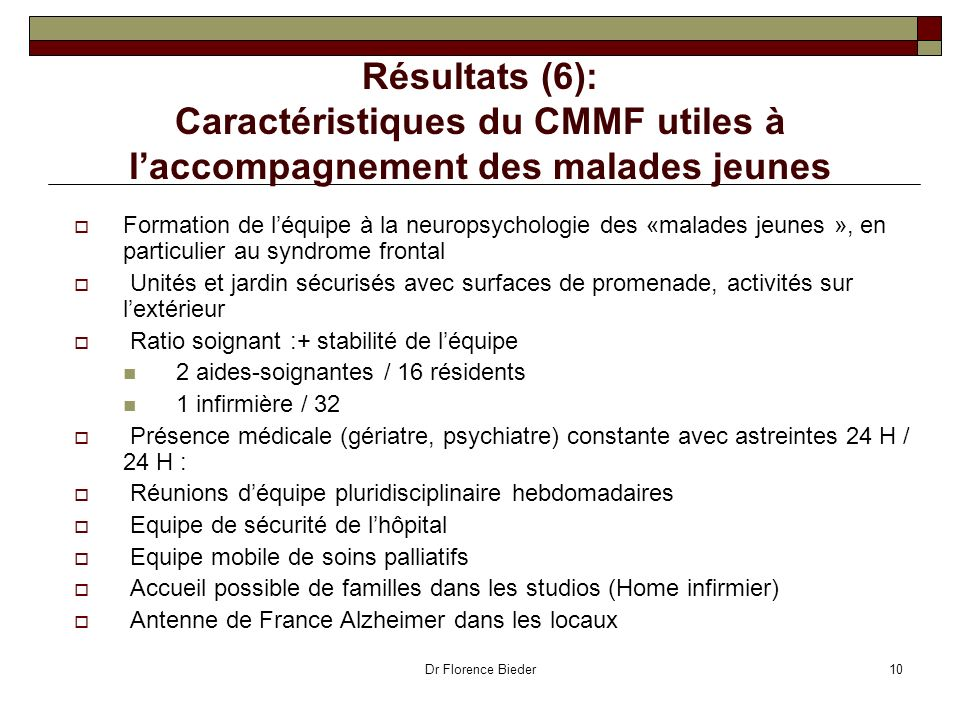 Résultats (6): Caractéristiques du CMMF utiles à l'accompagnement des malades jeunes