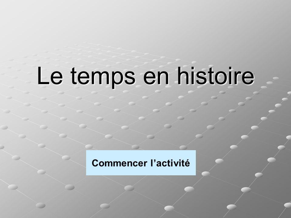 Le temps en histoire Commencer l'activité