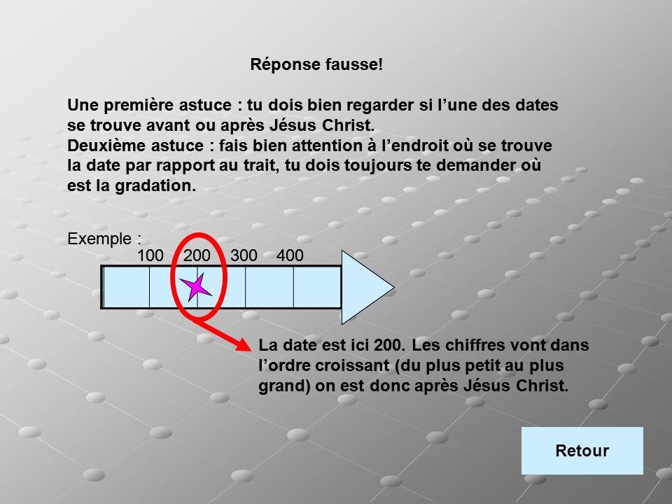 Réponse fausse! Une première astuce : tu dois bien regarder si l'une des dates se trouve avant ou après Jésus Christ.