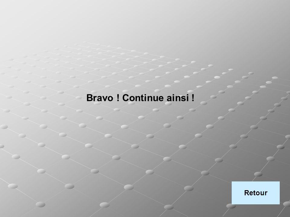 Bravo ! Continue ainsi ! Retour