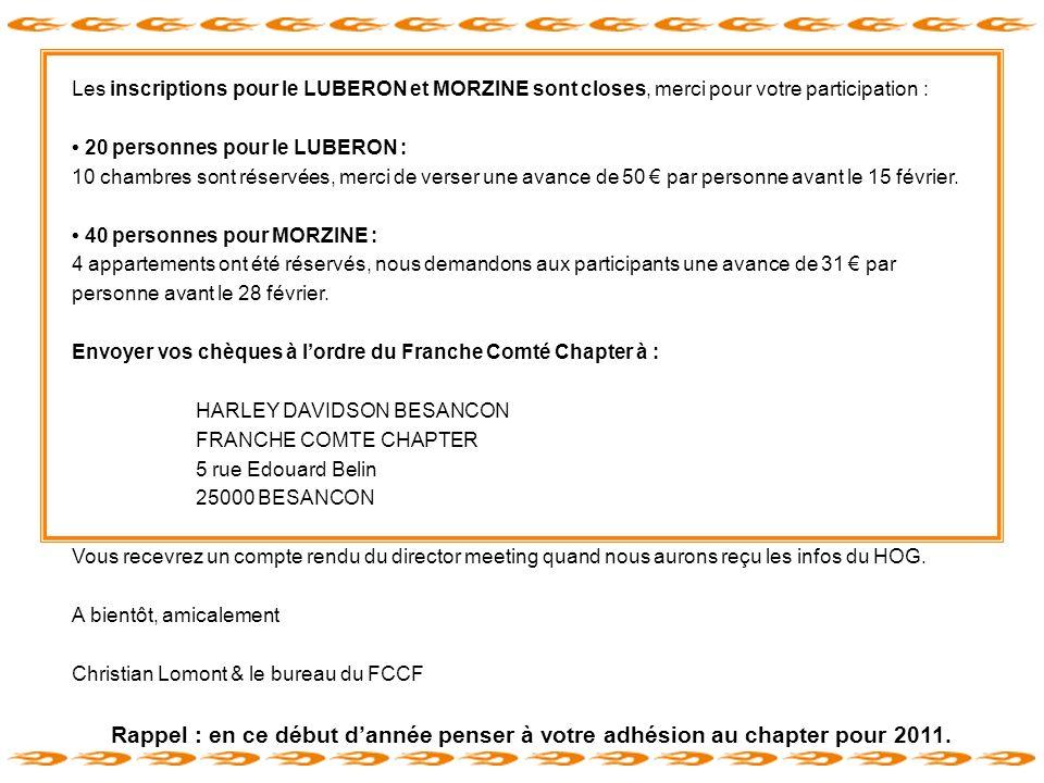 Les inscriptions pour le LUBERON et MORZINE sont closes, merci pour votre participation :