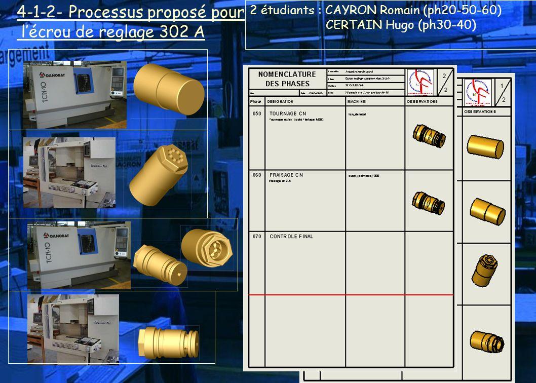 4-1-2- Processus proposé pour l'écrou de reglage 302 A
