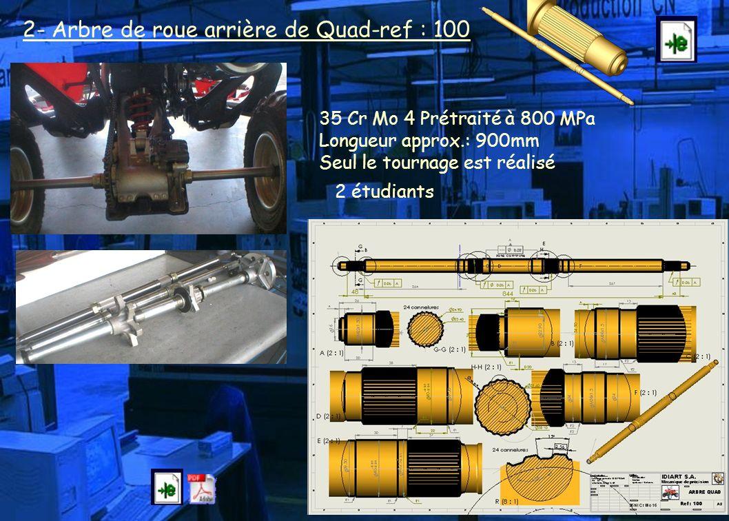 2- Arbre de roue arrière de Quad-ref : 100
