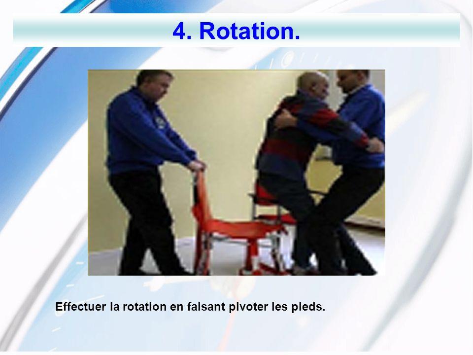 4. Rotation. Effectuer la rotation en faisant pivoter les pieds.