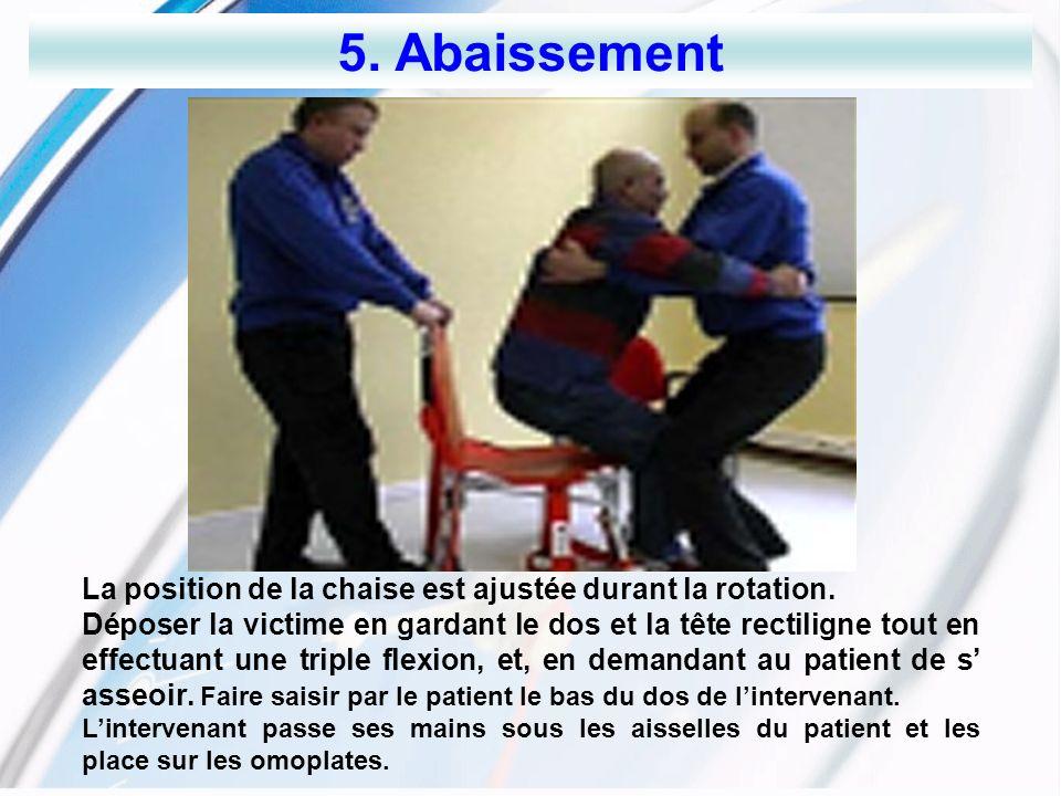 5. Abaissement La position de la chaise est ajustée durant la rotation.