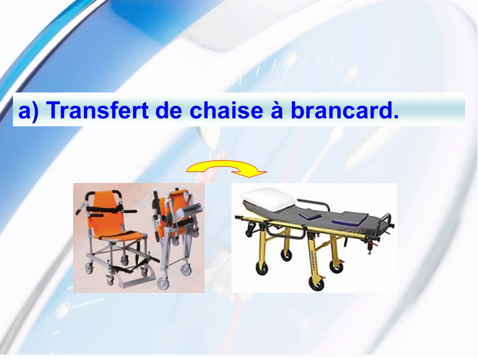 a) Transfert de chaise à brancard.