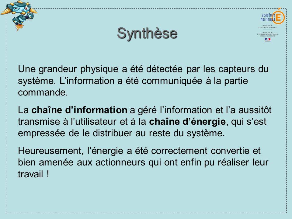 Synthèse Une grandeur physique a été détectée par les capteurs du système. L'information a été communiquée à la partie commande.