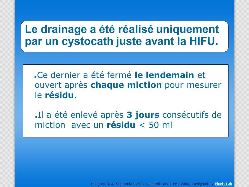 Le drainage a été réalisé uniquement par un cystocath juste avant la HIFU.