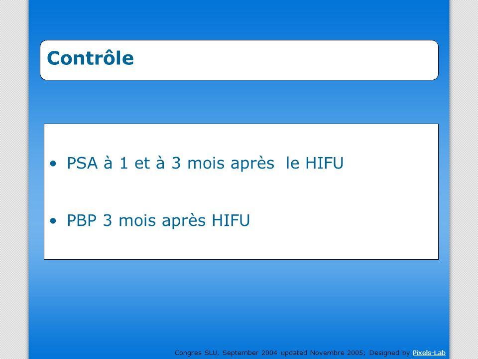 Contrôle PSA à 1 et à 3 mois après le HIFU PBP 3 mois après HIFU