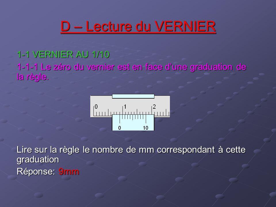 D – Lecture du VERNIER 1-1 VERNIER AU 1/10