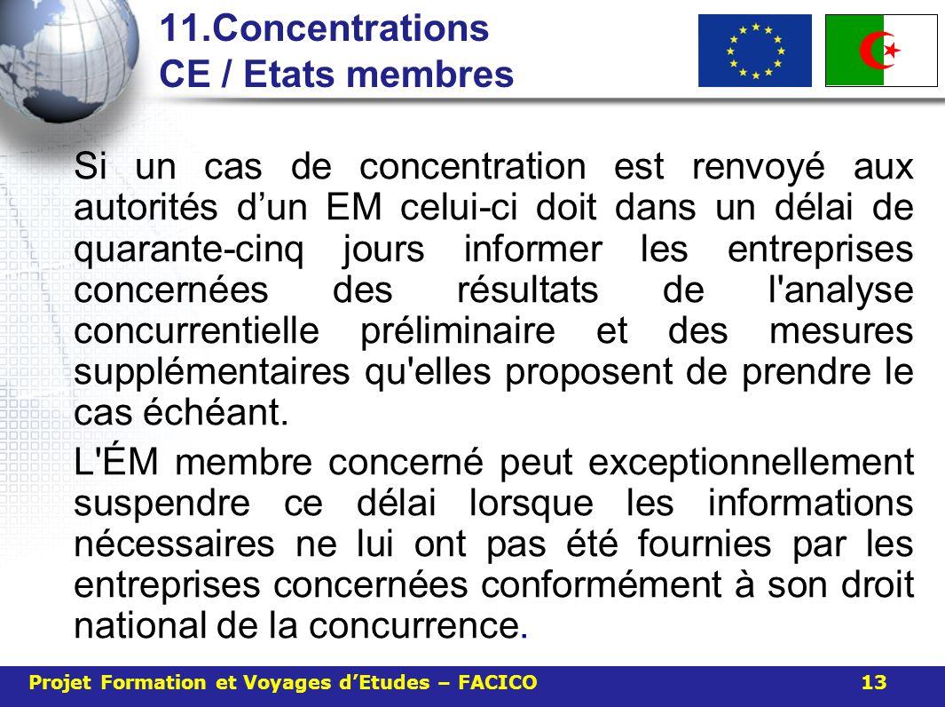 11.Concentrations CE / Etats membres