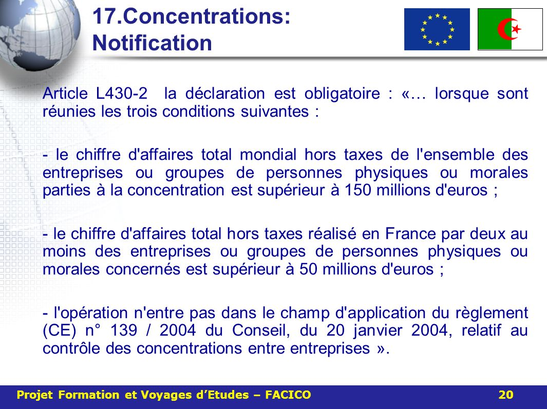 17.Concentrations: Notification