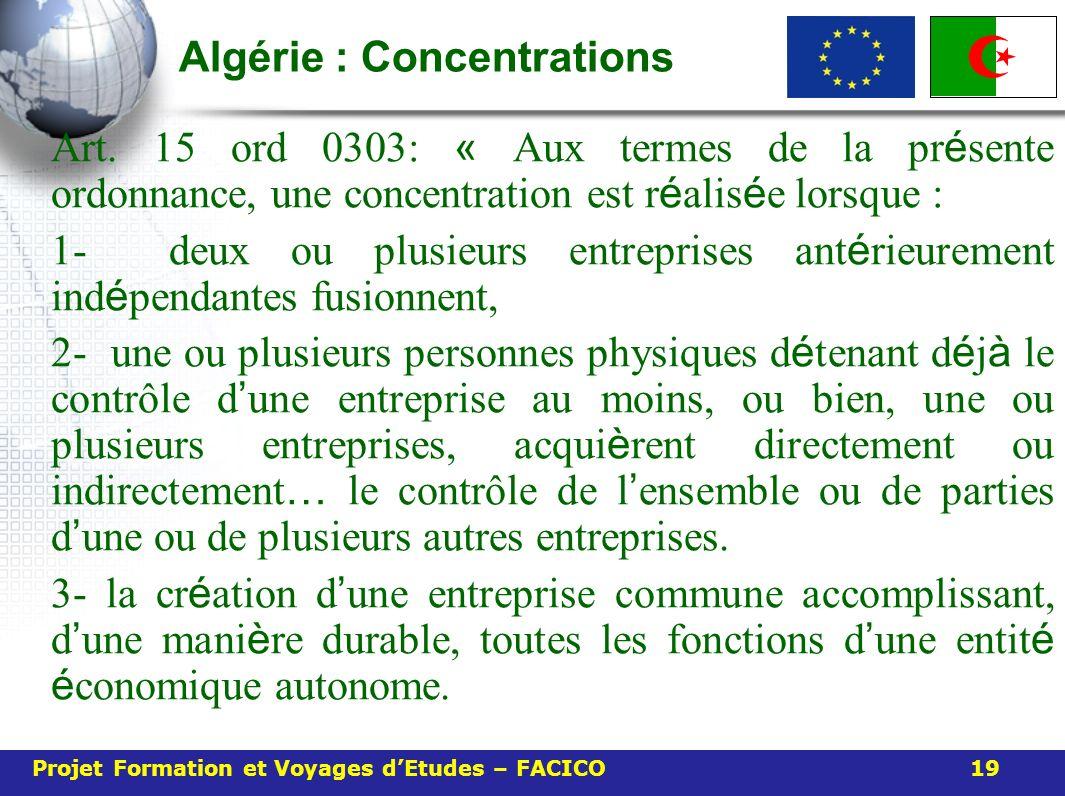 Algérie : Concentrations