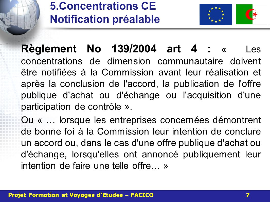 5.Concentrations CE Notification préalable