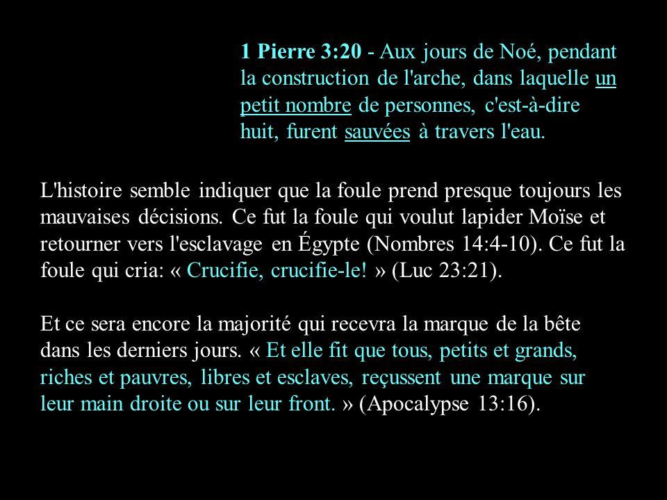 1 Pierre 3:20 - Aux jours de Noé, pendant la construction de l arche, dans laquelle un petit nombre de personnes, c est-à-dire huit, furent sauvées à travers l eau.