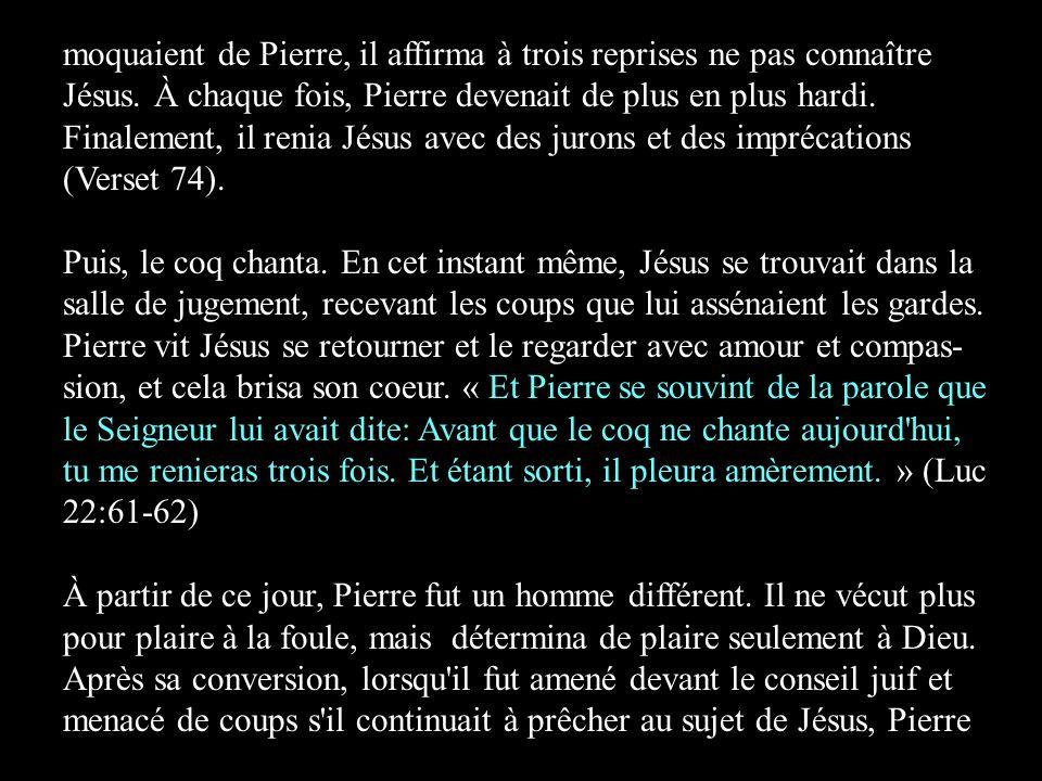 moquaient de Pierre, il affirma à trois reprises ne pas connaître Jésus. À chaque fois, Pierre devenait de plus en plus hardi. Finalement, il renia Jésus avec des jurons et des imprécations (Verset 74).