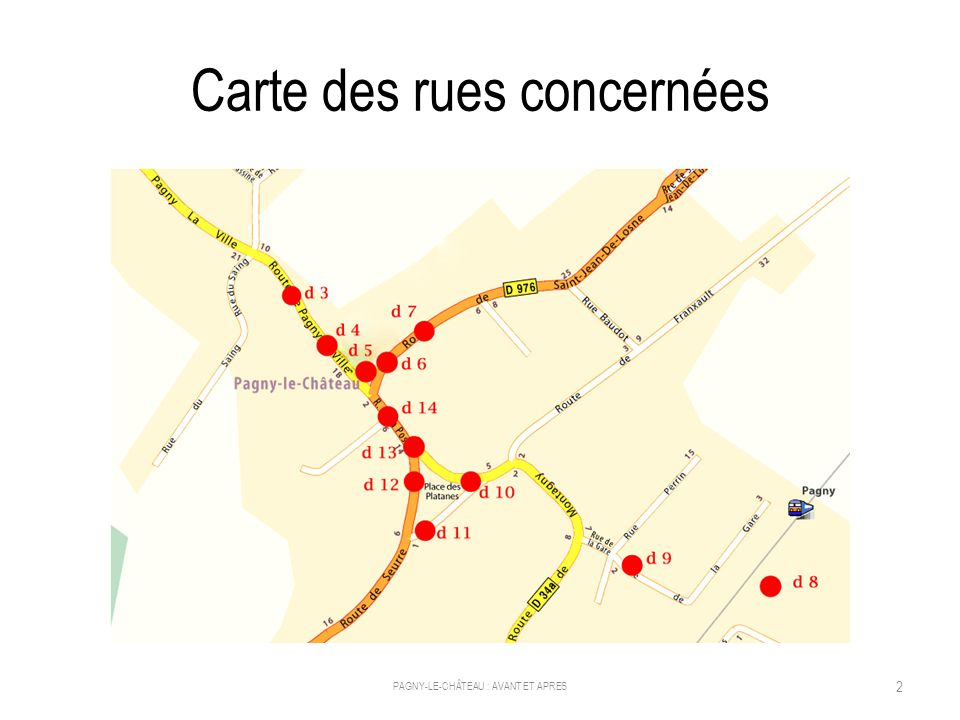 Carte des rues concernées