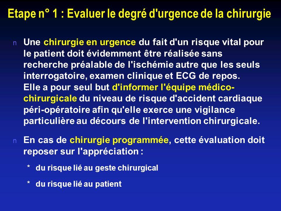 Etape n° 1 : Evaluer le degré d urgence de la chirurgie