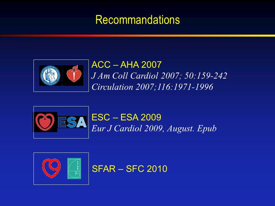 Recommandations ACC – AHA 2007 J Am Coll Cardiol 2007; 50:159-242