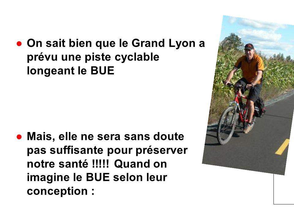 On sait bien que le Grand Lyon a prévu une piste cyclable longeant le BUE