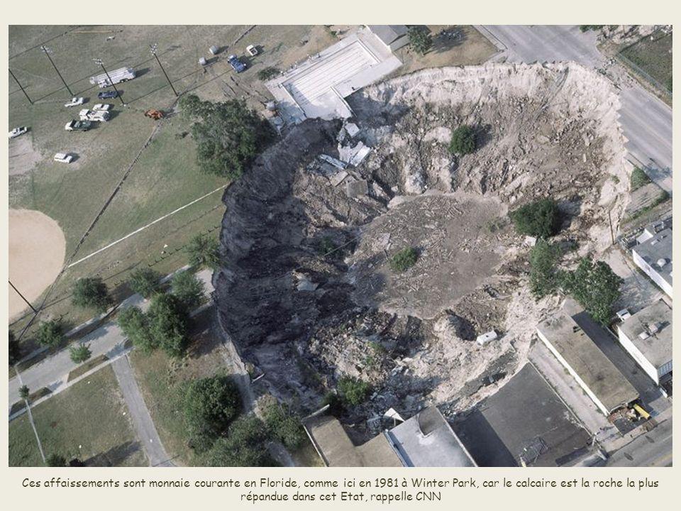 Ces affaissements sont monnaie courante en Floride, comme ici en 1981 à Winter Park, car le calcaire est la roche la plus répandue dans cet Etat, rappelle CNN
