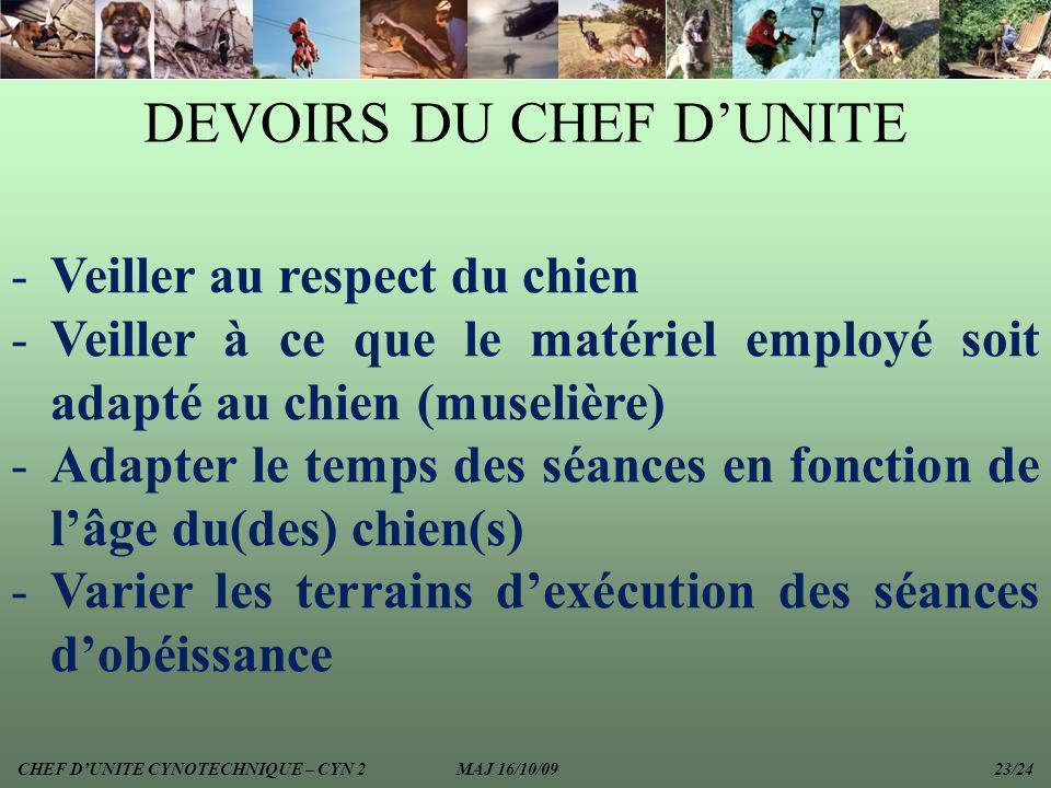 DEVOIRS DU CHEF D'UNITE