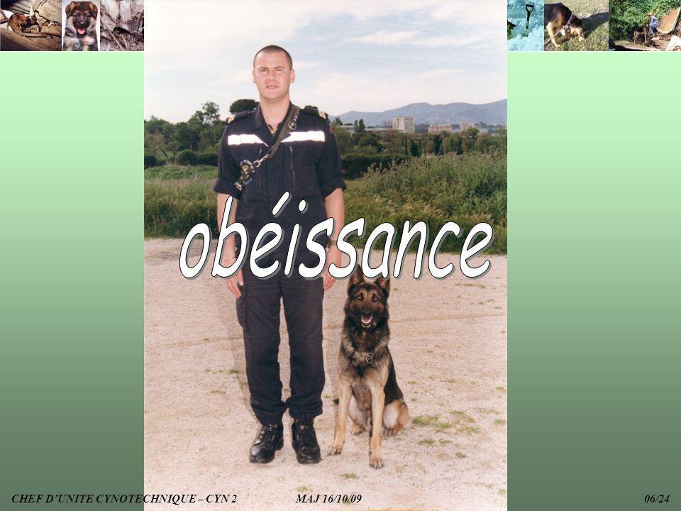 obéissance CHEF D'UNITE CYNOTECHNIQUE – CYN 2 MAJ 16/10/09 06/24.