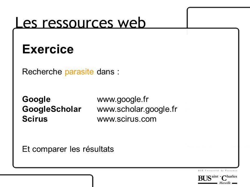 Les ressources web Exercice Recherche parasite dans :