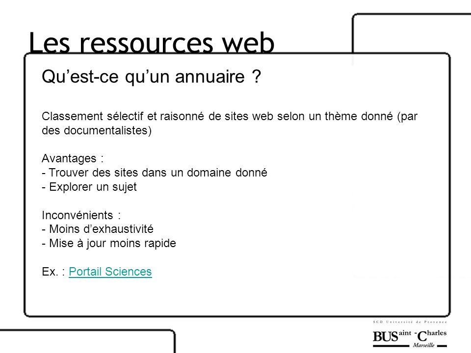 Les ressources web Qu'est-ce qu'un annuaire