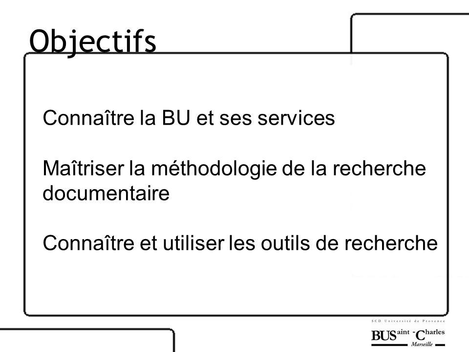 Objectifs Connaître la BU et ses services